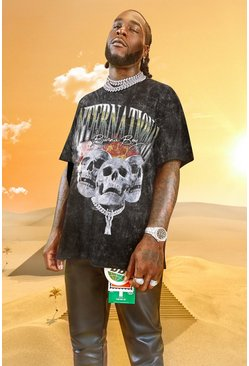 Charcoal Burna Boy Skull Print Acid Wash T-Shirt