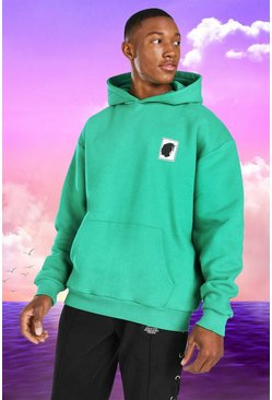 Green Burna Boy Oversized Stamp Print Hoodie