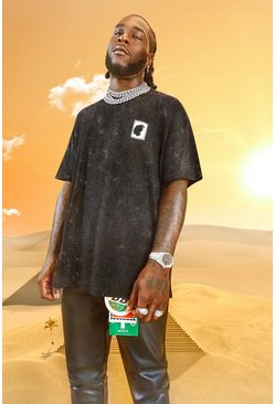 Charcoal Burna Boy Oversized Stamp Acid Wash T-Shirt