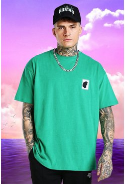 Green Burna Boy Oversized Stamp Print T-Shirt