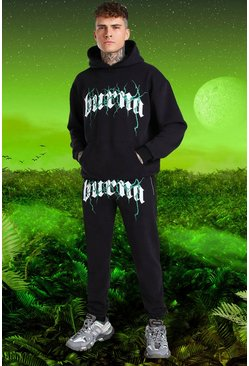 Black Burna Boy Oversized Tour Print Hooded Tracksuit