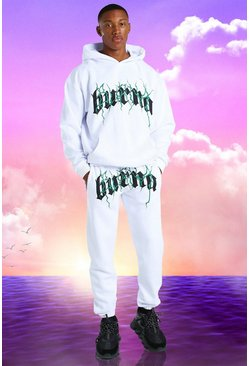 White Burna Boy Oversized Tour Print Hooded Tracksuit
