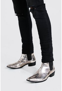 Cuban Chelsea-Boots in Kroko-Optik, Silber