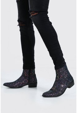 Black Glitter Cuban Chelsea Boot