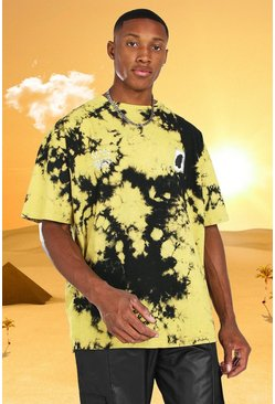 Yellow Burna Boy Oversized Back Print Tie Dye T-Shirt