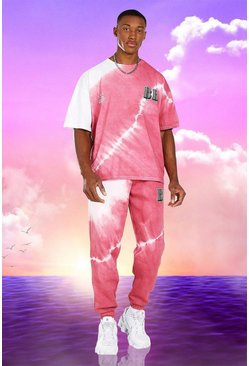 Pink Burna Boy Oversized Tie Dye T-Shirt And Jogger Set