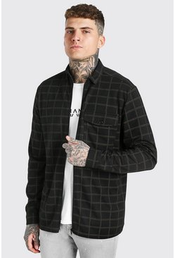 Black Long Sleeve Jacquard Jersey Check Overshirt