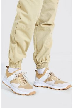Beige Panelled Chunky Sneaker With Hiker Sole