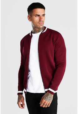 Burgundy Smart Knitted Bomber With Stripe Detail