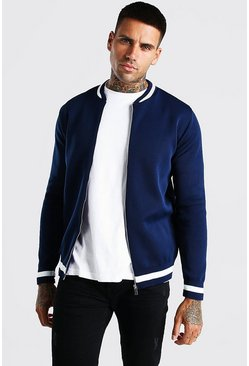 Navy Smart Knitted Bomber With Stripe Detail