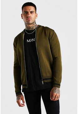 Khaki Smart Knitted Bomber With Stripe Detail