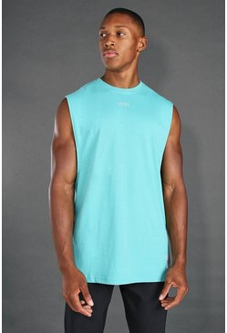 Green MAN Loose Fit Tank With Man Branded Tab