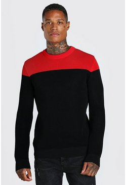 Red Contrast Crew Neck Muscle Fit Knitted Jumper