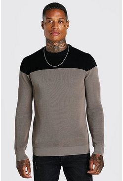 Contrast Crew Neck Muscle Fit Knitted Jumper, Taupe