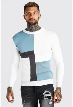 Colour Block Muscle Fit Knitted Jumper, Pale blue