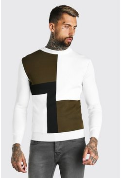 Colour Block Muscle Fit Knitted Jumper, Sage