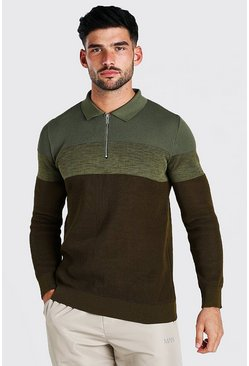 Khaki Long Sleeve Colour Block Muscle Fit Polo