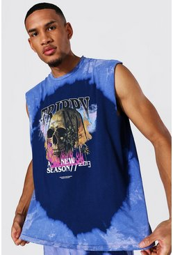 Purple Tall Oversized Skull Tour Print Tie Dye Tank