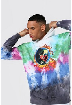 Multi Tall Oversized Trippy Funk Tie Dye Hoodie