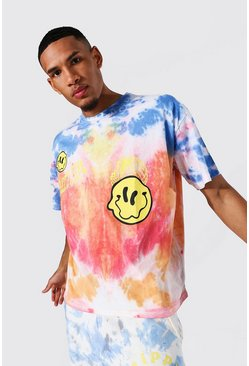 Tall Oversized Trippy Face Tie Dye T-shirt, Red