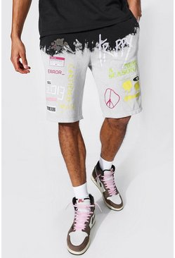Stone Tall Regular Fit Tie Dye Jersey Shorts