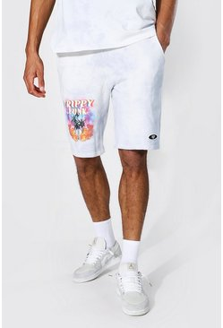 Grey Tall Regular Fit Trippy Palm Jersey Shorts