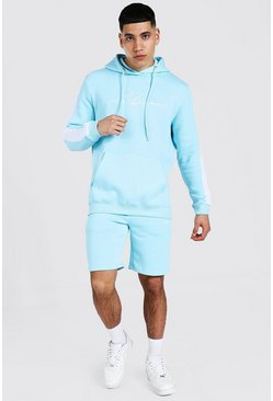 Man Signature Contrast Panel Short Tracksuit, Pastel blue