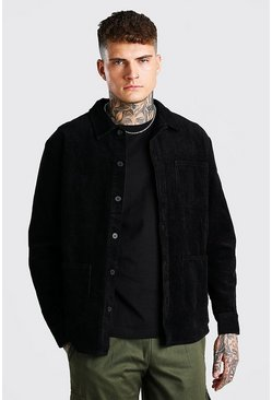 Black Corduroy Button Through Overshirt
