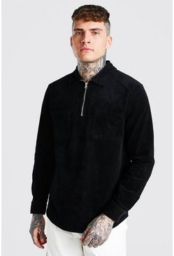 Black Corduroy Half Zip Overshirt