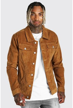 Tan Regular Fit Cord Jacket