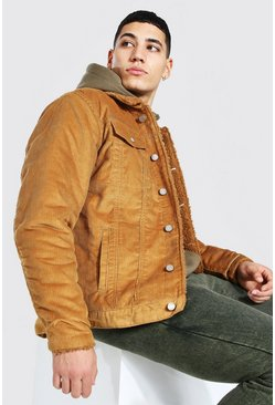Tan Regular Fit Fully Borg Lined Cord Jacket