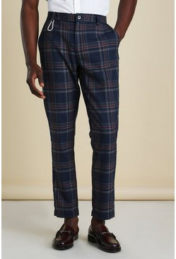 Skinny Tartan Cropped Trousers With Carabiner, Navy