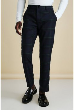 Navy Skinny Check Smart Pants