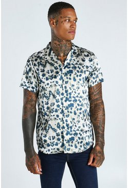 Stone Short Sleeve Revere Collar Leopard Satin Shirt