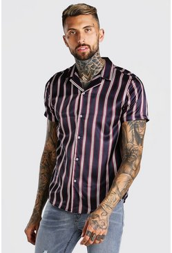 Navy Short Sleeve Satin Stripe Shirt