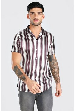 Cream Short Sleeve Satin Stripe Shirt