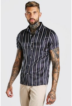 Black Short Sleeve Satin Stripe Shirt