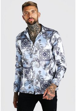 Grey Long Sleeve Satin Paisley Shirt