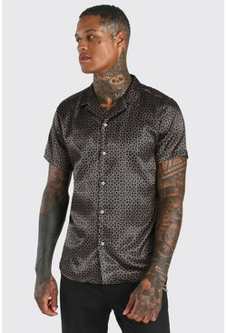 Black Short Sleeve Satin Geo Print Shirt
