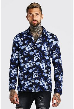 Navy Long Sleeve Floral Viscose Shirt
