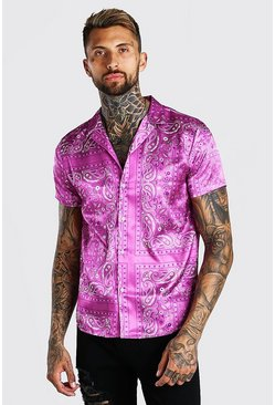 Pink Long Sleeve Bandana Satin Shirt