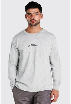 Grey marl MAN Signature Long Sleeve T-Shirt
