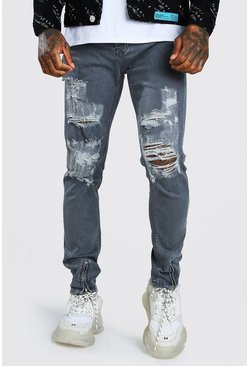 Dark grey Skinny Jeans With All Over Rips