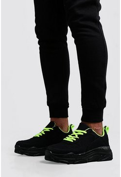 Mens Black Neon Lined Chunky Sneaker