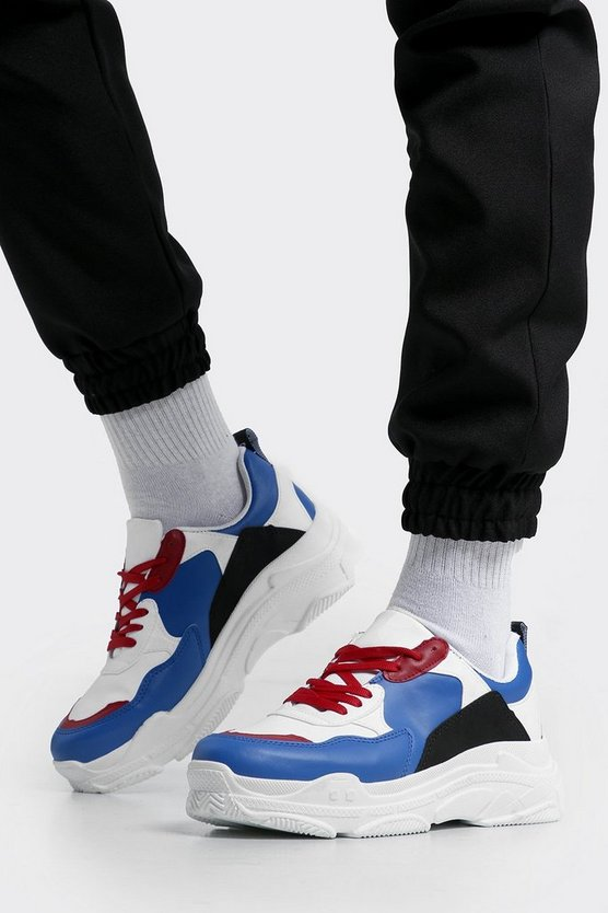 Mens Multi Colour Block Chunky Sneakers
