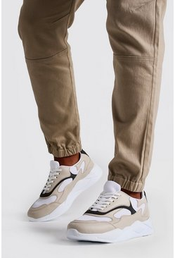 Mens Cream Abstract Panel Chunky Sneaker
