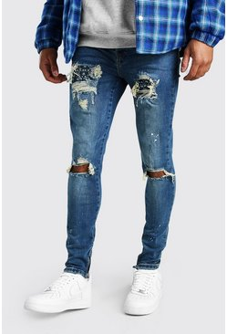 Mid blue Super Skinny Paint Bandana Rip And Repair Jeans