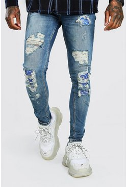 Mid blue Super Skinny Bandana Biker Rip And Repair Jeans