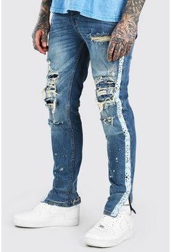 Mid blue Skinny Jeans With All Over Bleach Effect Rips