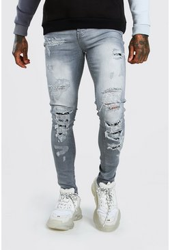 Grey Super Skinny Coloured Bandana Biker Jeans